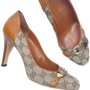 Gucci GG Canvas Leather Pumps Heels Brown 8B